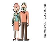 couple in watercolor silhouette ... | Shutterstock .eps vector #765745390