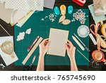cropped image of designer... | Shutterstock . vector #765745690