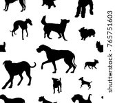 seamless pattern with dog... | Shutterstock .eps vector #765751603
