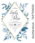 Stock vector wedding invite invitation save the date card design with watercolor blue color leaves forest 765754033
