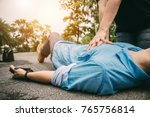 first aid emergency cpr on a...   Shutterstock . vector #765756814