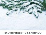 christmas fir tree frame on... | Shutterstock . vector #765758470