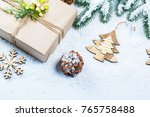 christmas frame with gift  the... | Shutterstock . vector #765758488