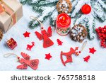 christmas background with gift  ... | Shutterstock . vector #765758518