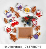 christmas baking and decor... | Shutterstock . vector #765758749
