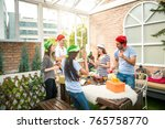group of friends enjoy... | Shutterstock . vector #765758770