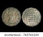 Small photo of British 3 pence threepenny coin 1967 year