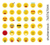 set of cute smiley emoticons ... | Shutterstock .eps vector #765767044