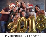 new 2018 year is coming  group... | Shutterstock . vector #765773449