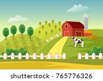 cartoon vector farm landscape... | Shutterstock .eps vector #765776326