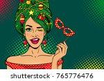 wow pop art christmas face.... | Shutterstock .eps vector #765776476