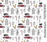 christmas seamless pattern with ... | Shutterstock .eps vector #765782950