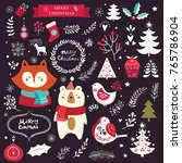 christmas vector collection... | Shutterstock .eps vector #765786904