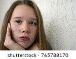 a teenager girl is going... | Shutterstock . vector #765788170