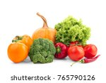 ripe vegetables on white... | Shutterstock . vector #765790126