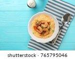 plate with fresh tasty shrimp... | Shutterstock . vector #765795046