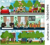 vector set of posters with... | Shutterstock .eps vector #765804994