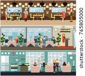 vector restaurant interior set... | Shutterstock .eps vector #765805000