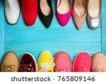various female stylish shoes on ... | Shutterstock . vector #765809146