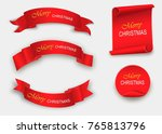 scroll red  merry christmas ... | Shutterstock .eps vector #765813796