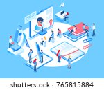 Online education concept. Online training courses, specialization, university studies. 3d isometric people. | Shutterstock vector #765815884