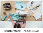 top view of woman seamstress at ... | Shutterstock . vector #765818860