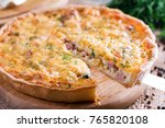 a piece of onion cheese quiche... | Shutterstock . vector #765820108
