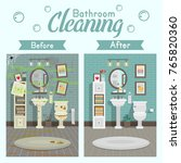 clean and dirty bathroom with... | Shutterstock .eps vector #765820360