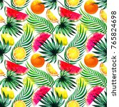 jungle fruits pattern with red... | Shutterstock . vector #765824698