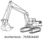 excavator. abstract drawing.... | Shutterstock .eps vector #765826660