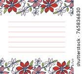 card design. cute floral vector ... | Shutterstock .eps vector #765836830