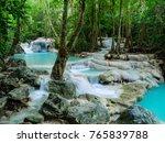 deep forest waterfall in... | Shutterstock . vector #765839788