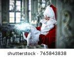 santa claus and home interior.  | Shutterstock . vector #765843838