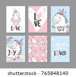 greeting cards with cute... | Shutterstock .eps vector #765848140