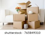 cardboard boxes   moving to a... | Shutterstock . vector #765849310