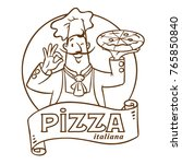 chef with pizza. emblem design... | Shutterstock .eps vector #765850840