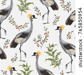 seamless pattern with crane... | Shutterstock .eps vector #765850954
