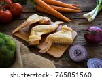 raw chicken wigs with mixed... | Shutterstock . vector #765851560
