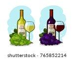 bottle of red or white wine ... | Shutterstock .eps vector #765852214