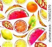 tropic fruit mix. rich natural... | Shutterstock . vector #765852370