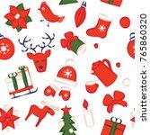 christmas seamless pattern   Shutterstock .eps vector #765860320