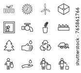 thin line icon set   bio  sun... | Shutterstock .eps vector #765861766