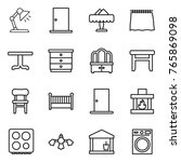 thin line icon set   table lamp ... | Shutterstock .eps vector #765869098