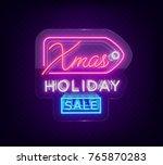 christmas sales  neon sign ... | Shutterstock .eps vector #765870283