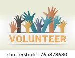 colorful up hands. raised hands ... | Shutterstock .eps vector #765878680