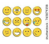 set of smile icons. emoji.... | Shutterstock .eps vector #765879358