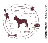 silhouette of french bulldog ... | Shutterstock .eps vector #765879844