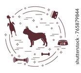 Stock vector silhouette of french bulldog bowl bone brush comb toys design element for postcard banner 765879844