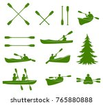 canoe silhouettes. rafting.... | Shutterstock . vector #765880888