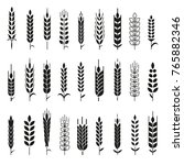 wheat ears icons and logo set.... | Shutterstock . vector #765882346